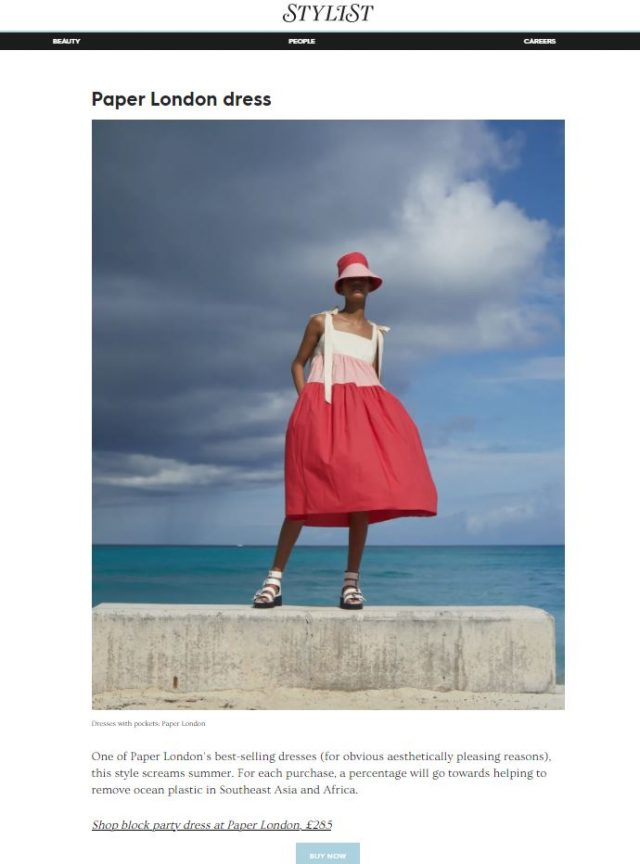PAPER Featured in STYLIST : 'Dresses with pockets are the effortlessly cool summer style to rely on' POSTED BY HARRIET DAVEY FOR FASHION