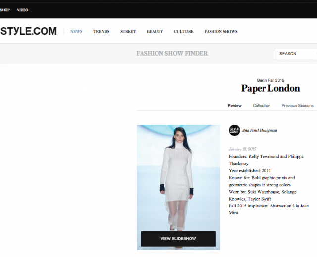 PAPER London's AW15 catwalk show is featured on style.com
