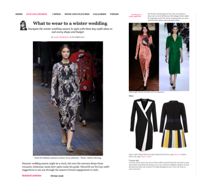 AW14's Solstice Dress is featured in The Telegraph's 'What to wear to a winter wedding'