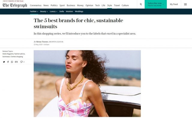 PAPER Featured in The Telegraph : 'The 5 best brands for chic, sustainable swimsuits' by Krissy Turner