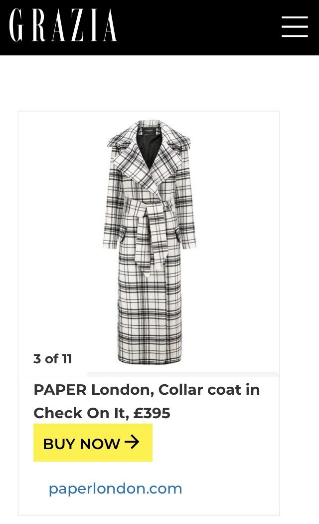 PAPER featured in GRAZIA's guide to Where Can You Find The Best Coats For Big Boobs?