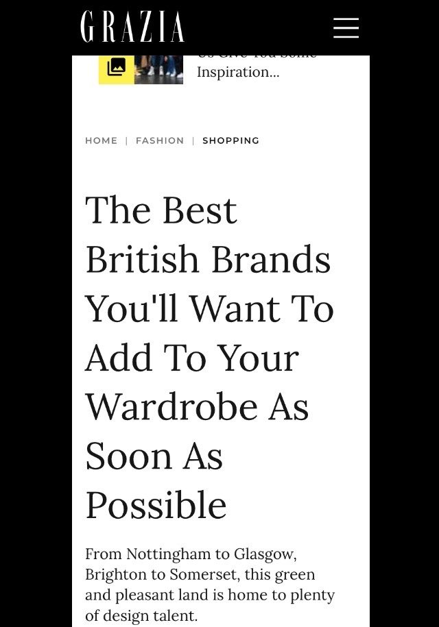 PAPER featured in GRAZIA : The Best British Brands You'll Want To Add To Your Wardrobe As Soon As Possible