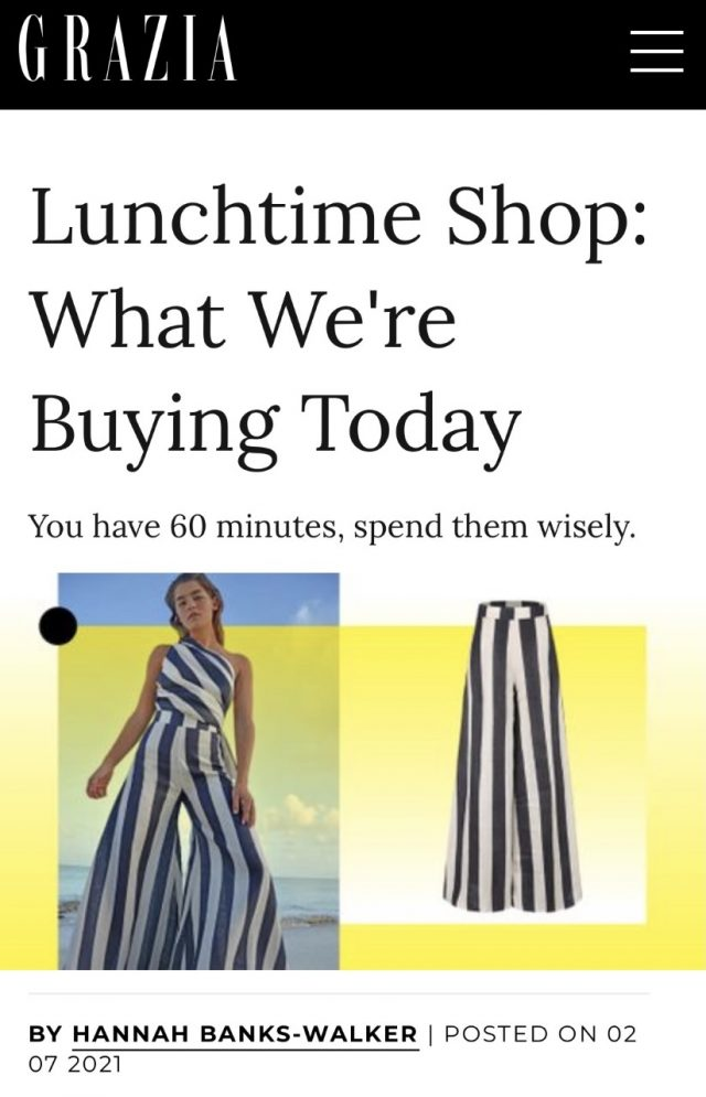 PAPER Featured in GRAZIA : 'Lunchtime Shop: What We're Buying Today You have 60 minutes, spend them wisely.' By Hannah Banks-Walker