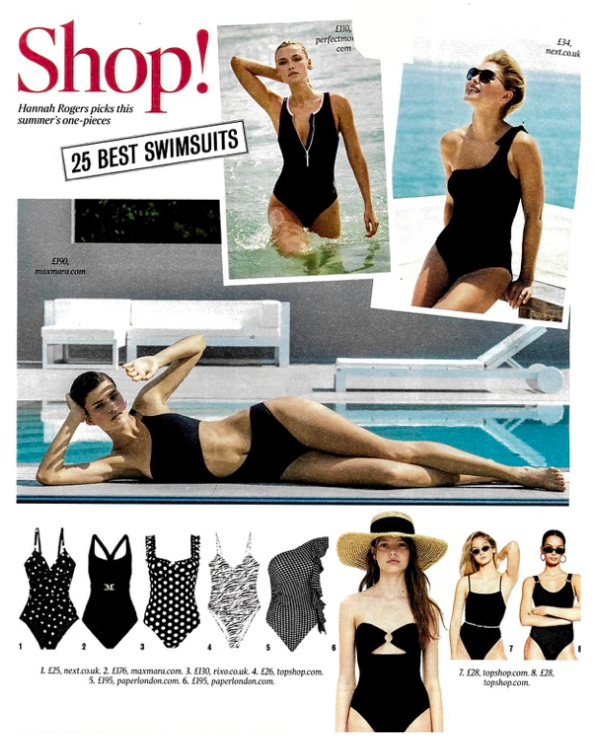 THE TIMES MAGAZINE FEATURES THE COCONUT SWIMSUIT AND STRAPPY SWIMSUIT