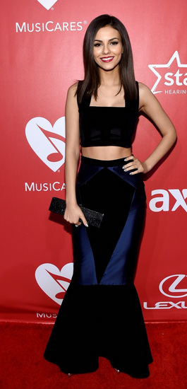 Victoria Justice wears PAPER's Serpens Skirt and Star Crop Top to the MusicCares Gala in LA