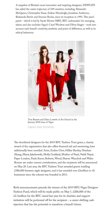PAPER LONDON IS NOMINATED FOR THE BFC FASHION TRUST GRANT 2019, VOGUE.COM