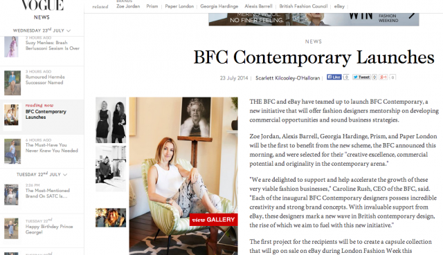 BFC Contemporary Initiative with PAPER London featured on Vogue.com